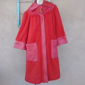 1970s Red Mohair Leather Giorgio Sant Angelo Coat